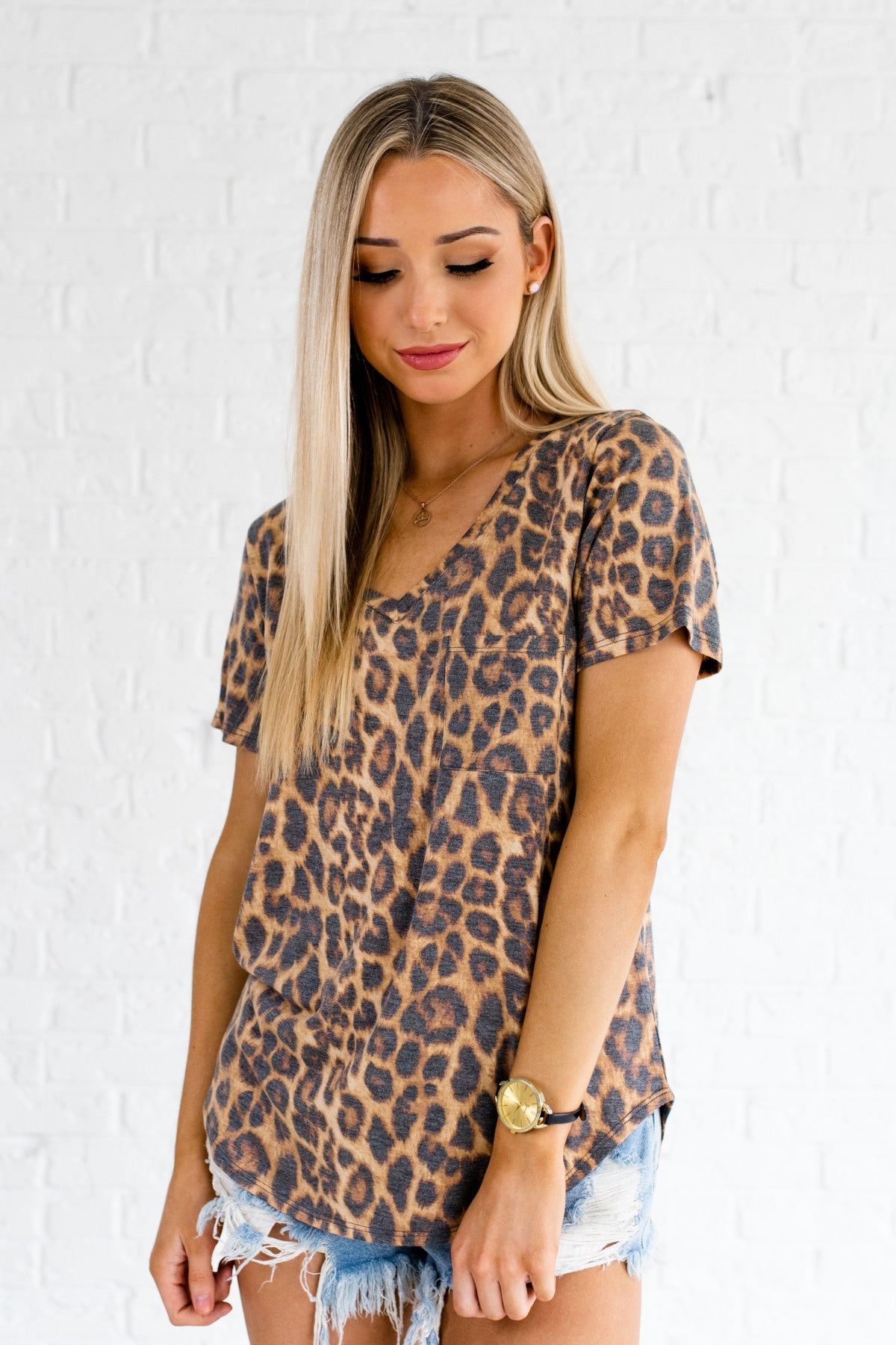 Brown Black Faded Leopard Print Cute Boutique T-Shirts and Tees