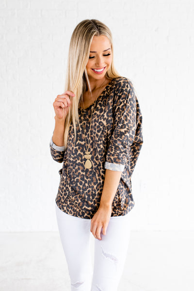 Brown Leopard Print Cute Faded Patterned Boutique Tops
