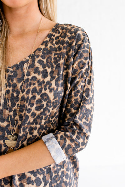 Beige Brown Black Natural Animal Print Faded Leopard Tops for Women