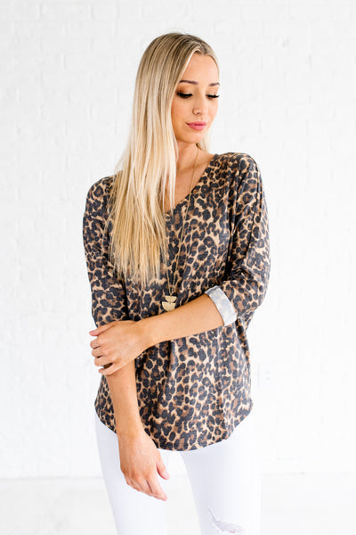 Faded Brown Black Leopard Print Boutique Tops for Women