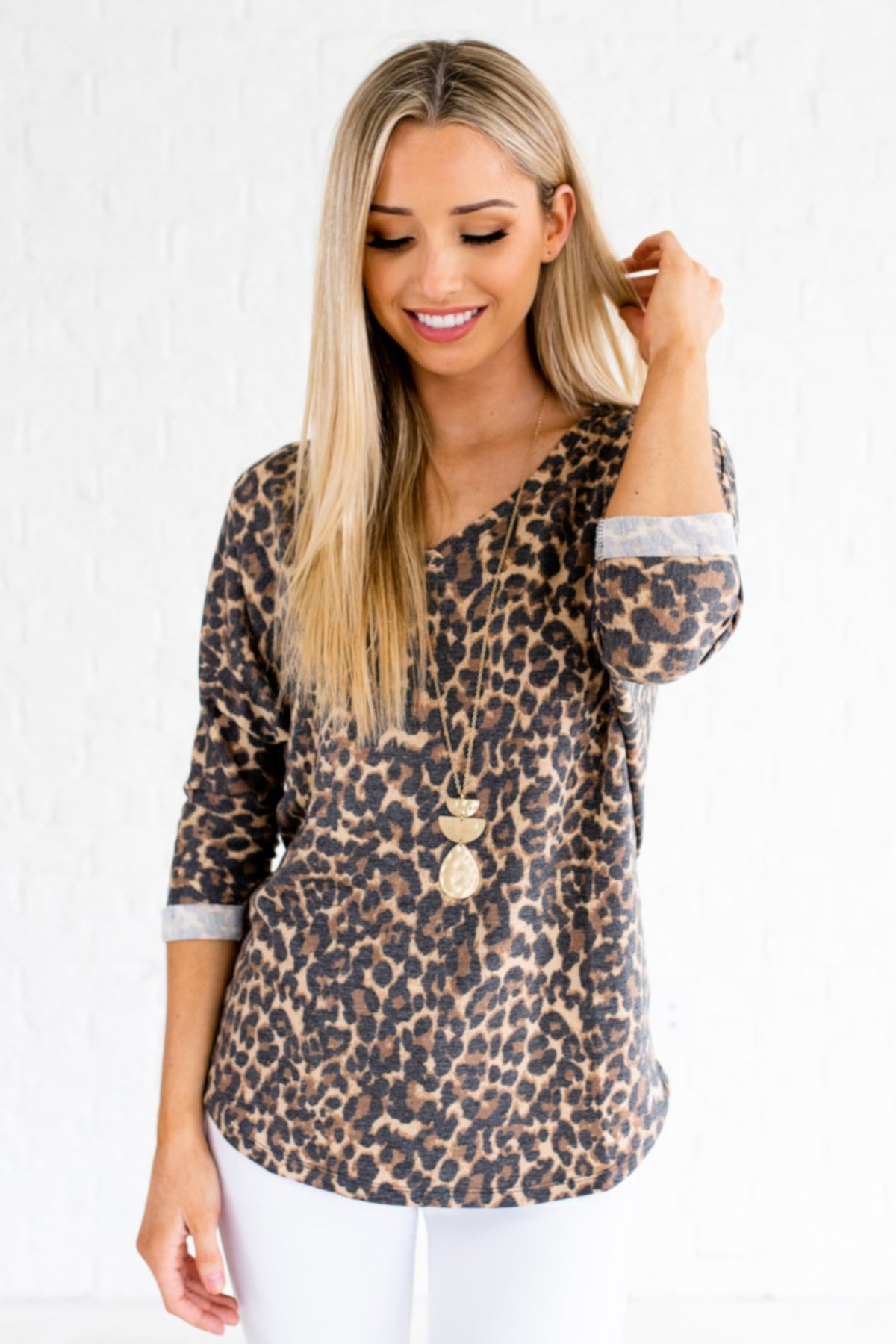fb4a5d4613f70 Faded Leopard Print Cute Boutique Tops Faux Cuffed Sleeves. Beige Brown ...