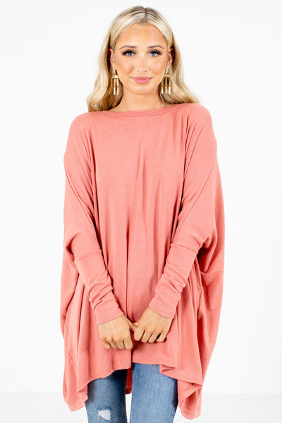 Pink Long Sleeve Boutique Tops for Women