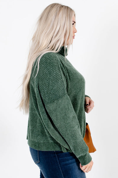 Let's Cuddle Forest Green Cowl Neck Sweater