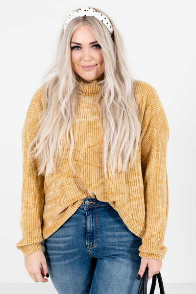 Let's Cuddle Mustard Cowl Neck Sweater