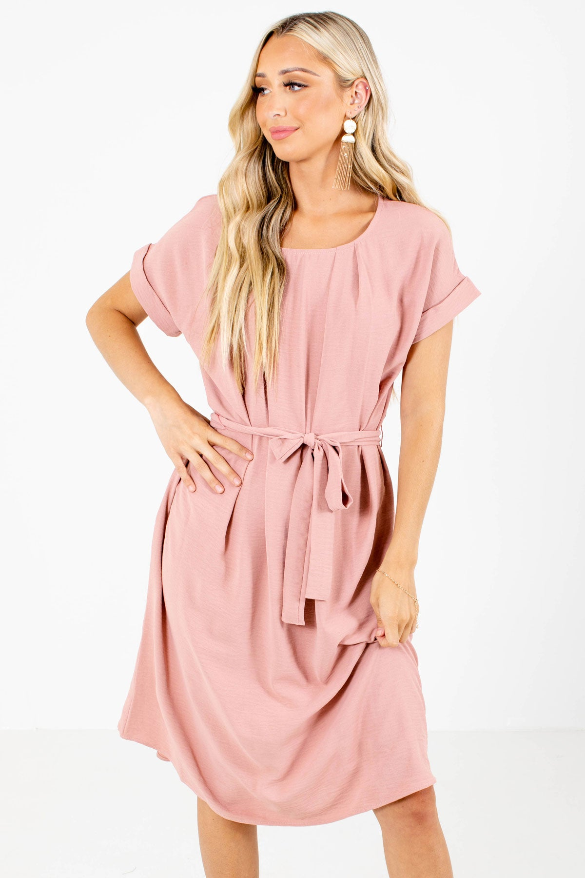 Mauve Waist Tie Detailed Boutique Knee-Length Dresses for Women