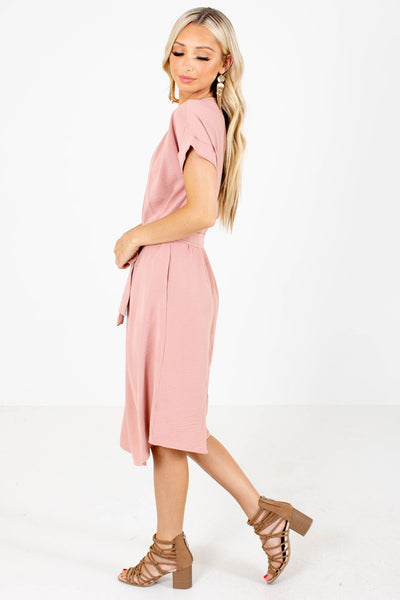 Mauve Cuffed Sleeve Boutique Dresses for Women