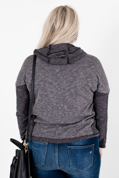 Women's Gray Cowl Neckline Boutique Hoodies