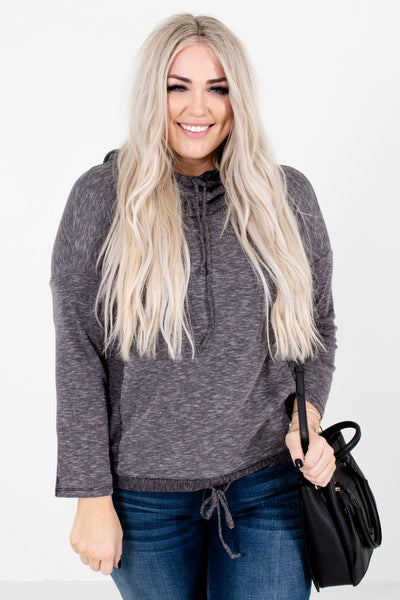 Charcoal Gray High-Quality Ribbed Material Boutique Hoodies for Women