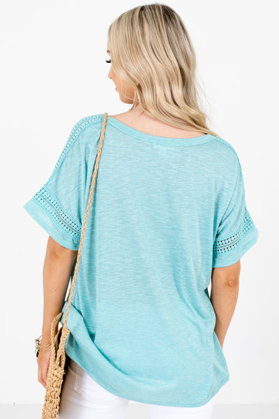 Women's Blue Crochet Lace Detailed Boutique Tops