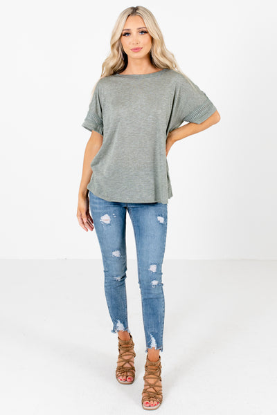 Women's Green Casual Everyday Boutique Top