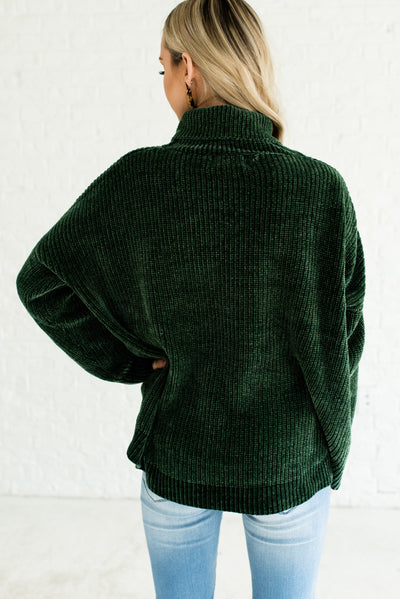 Forest Green Cozy Warm Winter Chenille Cowl Neck Sweaters for Women