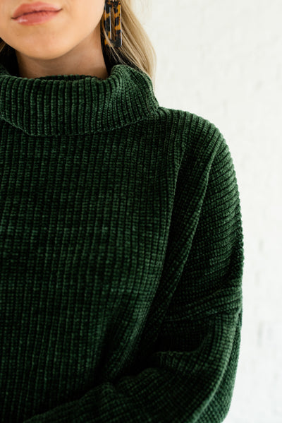 Forest Dark Green Soft Knit Cozy Oversized Chenille Sweaters with Cowl Neck