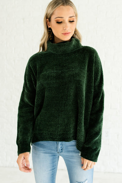 Forest Green Soft Knit Plush Chenille Cowl Neck Sweaters for Winter