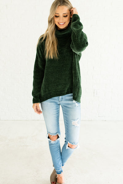 Forest Green Warm Cozy Soft Knit Chenille Sweaters with Oversized Boyfriend Fit