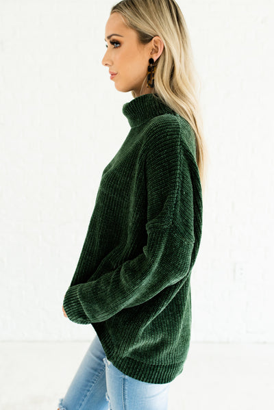Forest Green Warm Winter Fashion Boutique Chenille Cowl Neck Sweaters