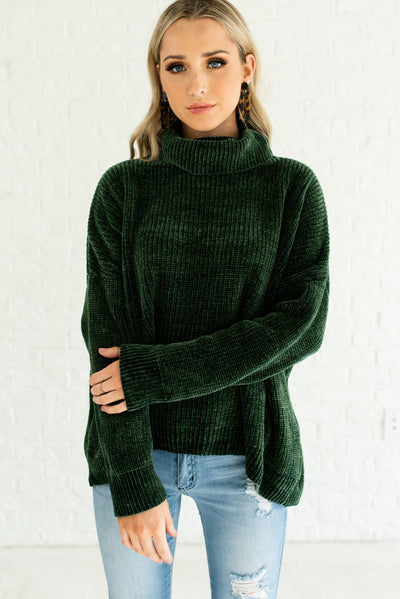 Forest Emerald Green Cute Cozy Soft Warm Chenille Sweaters with Cowl Neck