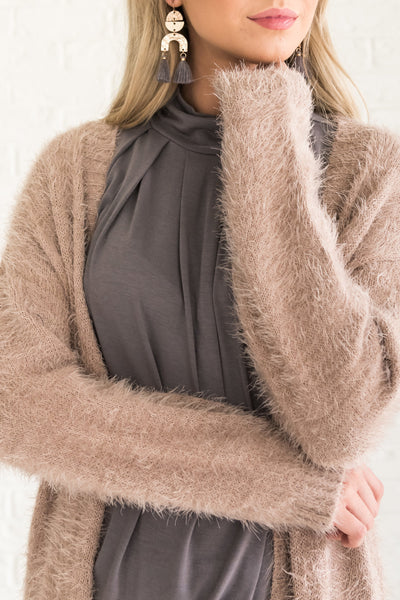 Beige Brown Women's Cardigan with Pockets