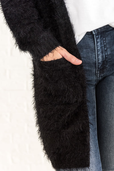 Black Eyelash Knit Fuzzy Long Cardigans with Pockets