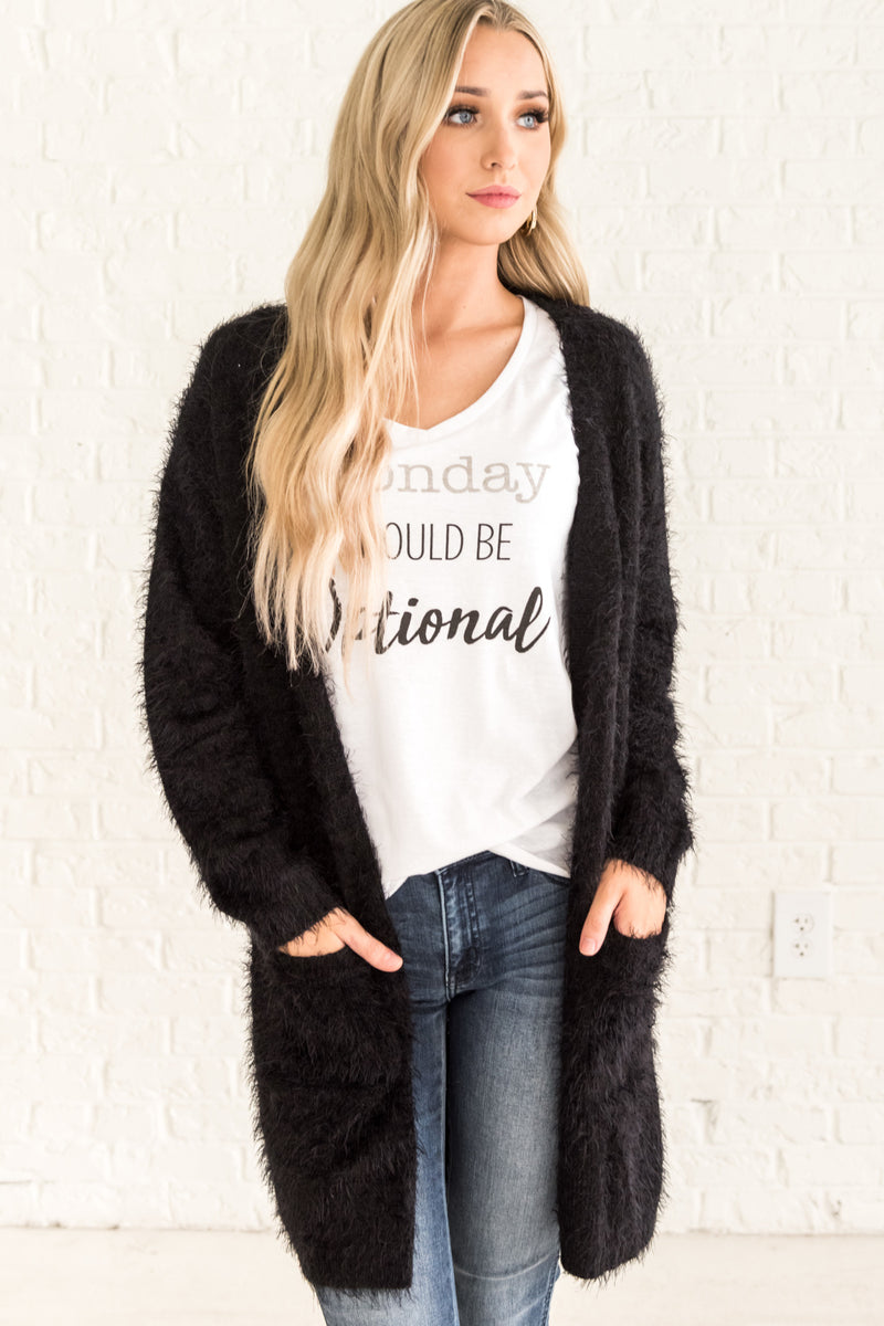 Let's Get Cozy Black Cardigan