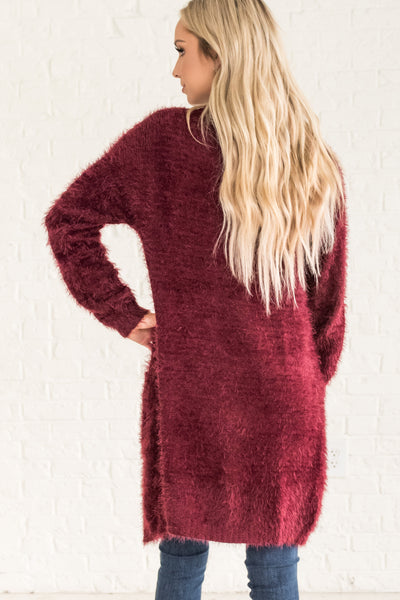 Burgundy Red Cozy Warm Clothing for Winter Eyelash Knit Fuzzy Long Cardigan Sweaters
