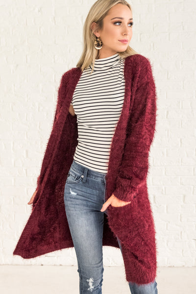 Burgundy Red Cute Women's Outerwear Cozy Warm Clothes Fuzzy Knit