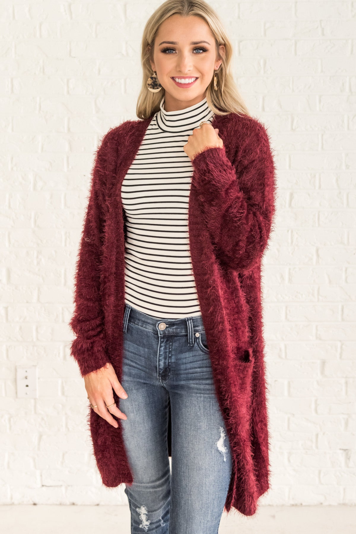 c47eb4b0a3 Burgundy Red Fuzzy Cardigans for Women