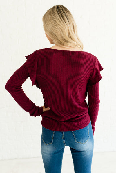 Burgundy Red Women's Long Sleeve Boutique Top