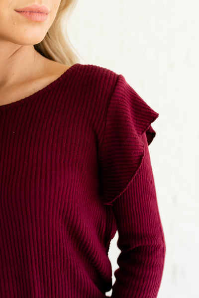 Burgundy Red Ribbed Material Boutique Tops for Women