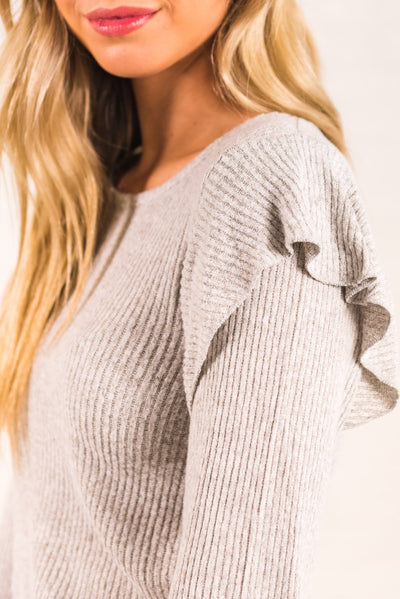 Light Gray Soft and Stretchy Material Boutique Tops for Women