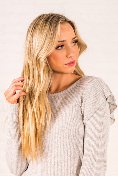 Light Gray Cute Long Sleeve Ribbed Soft Boutique Tops for Women
