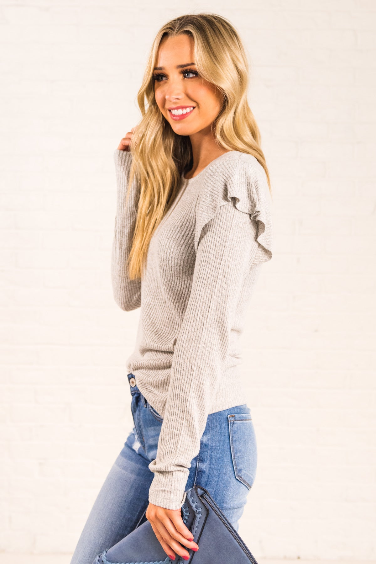 Light Gray Ruffle Sleeve Long Sleeve Boutique Tops for Women