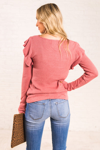 Pink Women's Ribbed Material Boutique Tops