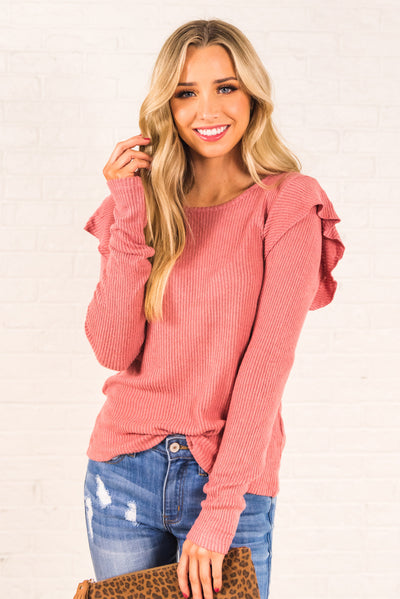 Pink Ruffle Sleeve Long Sleeve Boutique Tops for Women
