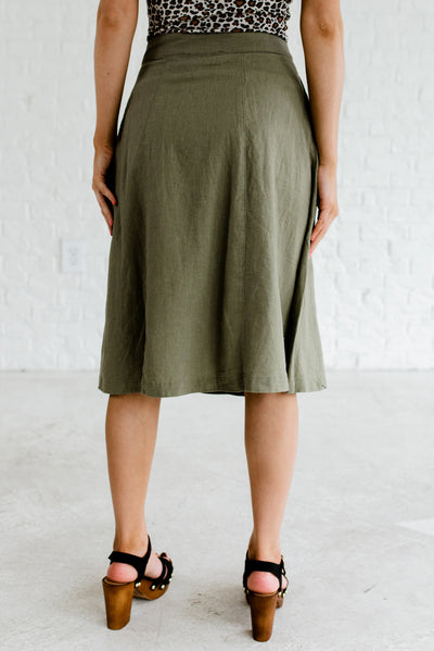 Women's Olive Green Zipper and Button Closure Boutique Skirts