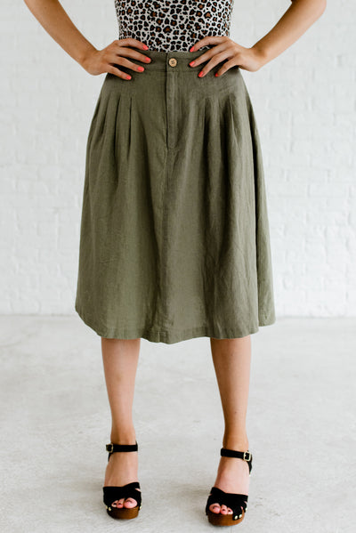 Olive Green Knee-Length Boutique Skirts for Women