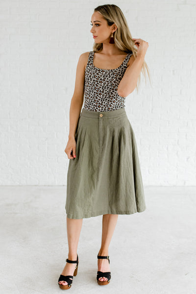 Olive Green Cute and Comfortable Boutique Skirts for Women