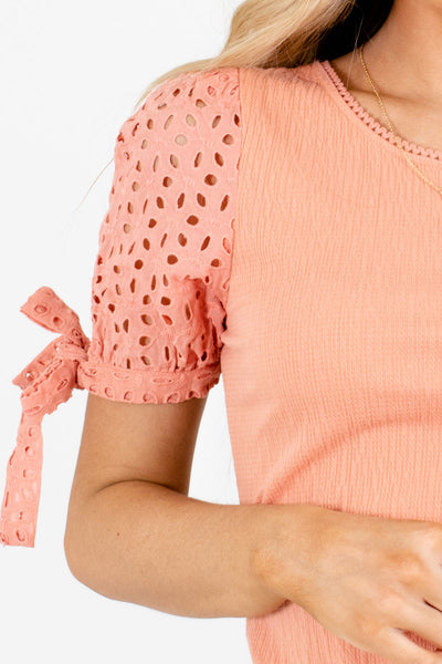 Women's Peach Pink Self-Tie Sleeve Accent Boutique Top