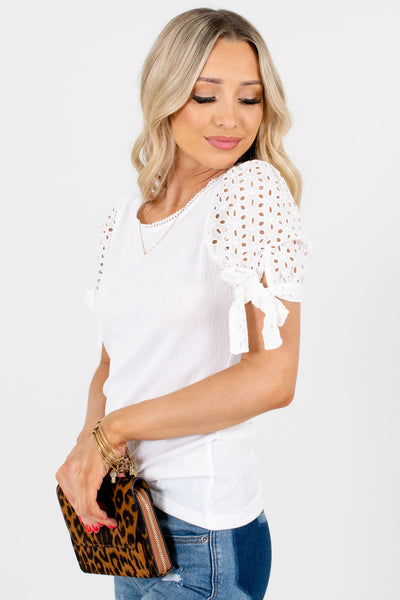 Women's White Business Casual Boutique Tops