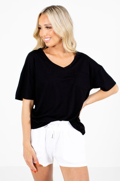 Black Short Sleeve Boutique Tees for Women
