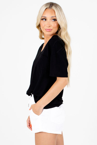 Women's Black Lightweight Material Boutique Tee
