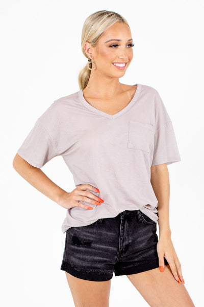 Women's Taupe Casual Everyday Boutique Pocket Tee
