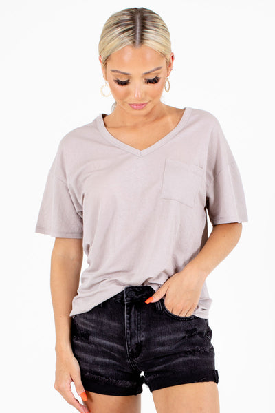 Taupe Cute and Comfortable Boutique Tees for Women