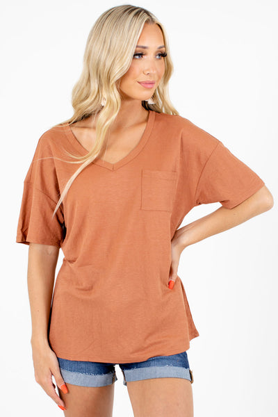 Orange Front Pocket Boutique Tees for Women