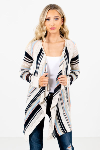 Beige Multi Striped Patterned Boutique Cardigans for Women