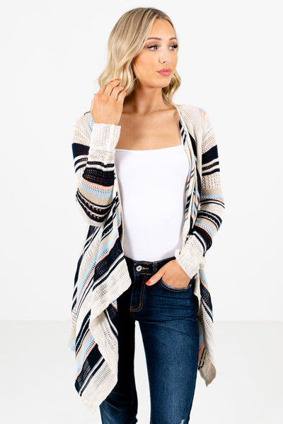 Women's Beige Long Sleeve Boutique Cardigans
