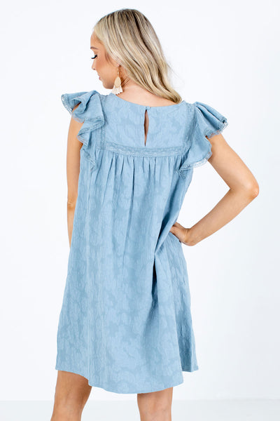 Women's Blue Flutter Sleeve Boutique Mini Dress