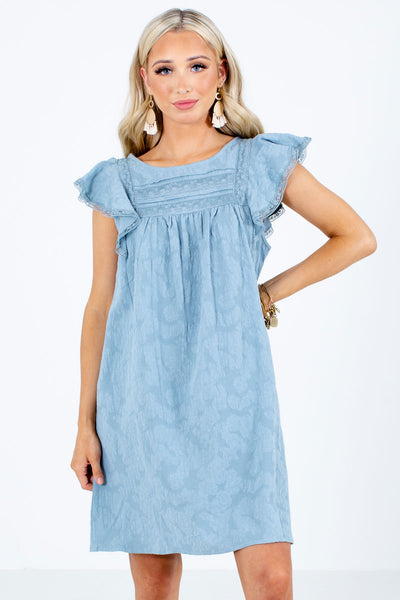 Blue Lace Detailed Boutique Mini Dresses for Women