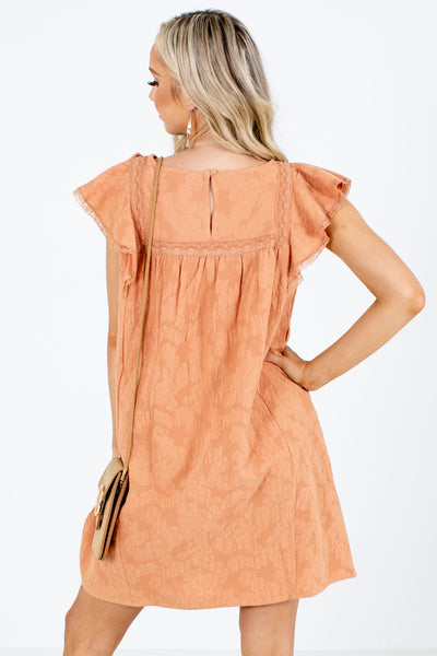 Women's Orange Keyhole Back Boutique Mini Dress