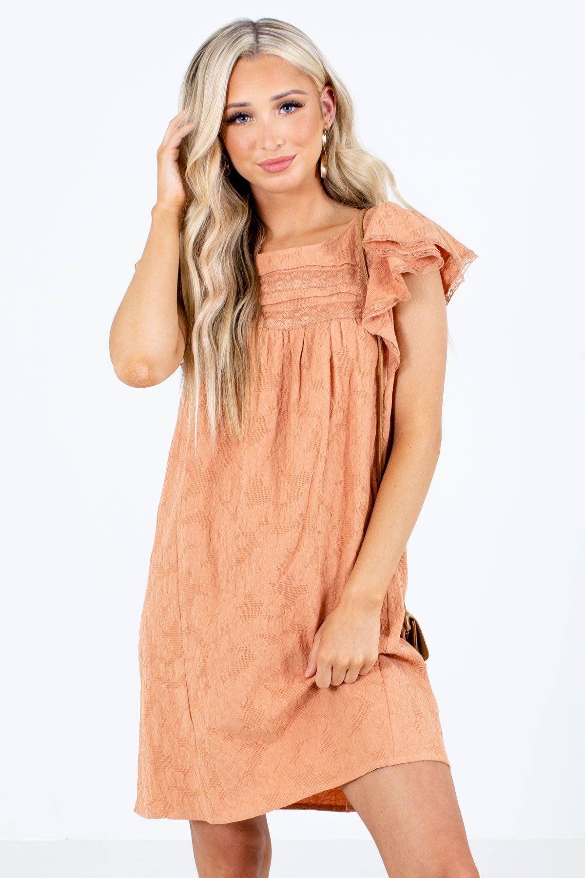 Orange Textured Material Boutique Mini Dresses for Women
