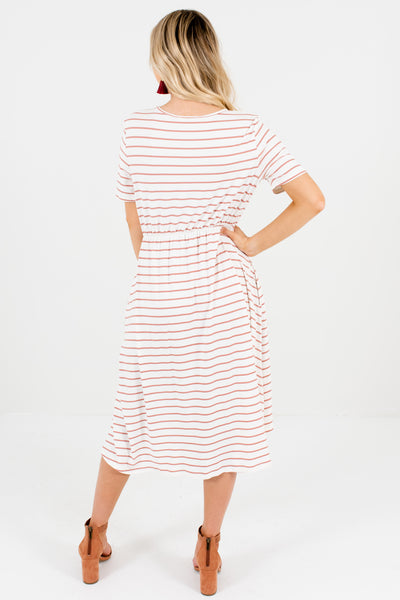 White Mauve Striped High Low Knee-Length Dresses with Pockets
